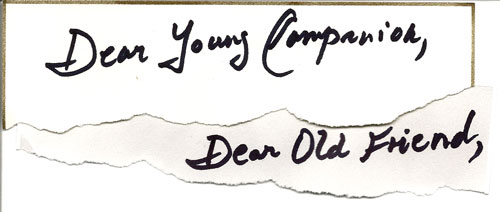 Dear Young Companion, Dear Old Friend